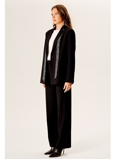 NaraMaxx Fularlı Cep Detaylı Blazer Ceket Siyah